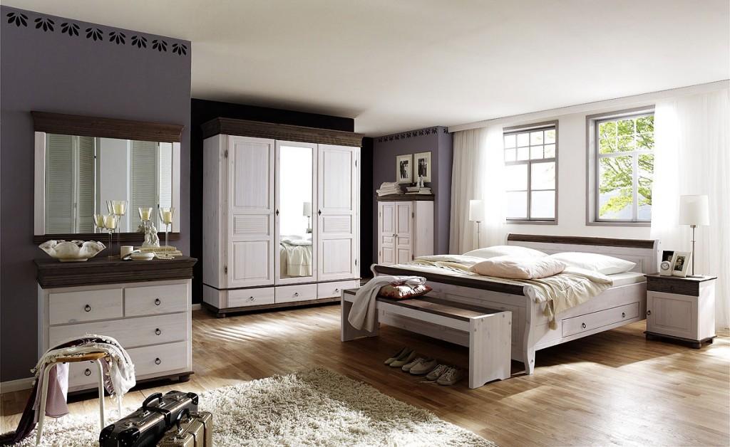 Massivholz SchlafzimmerSet komplett Kiefer massiv wei kolonial