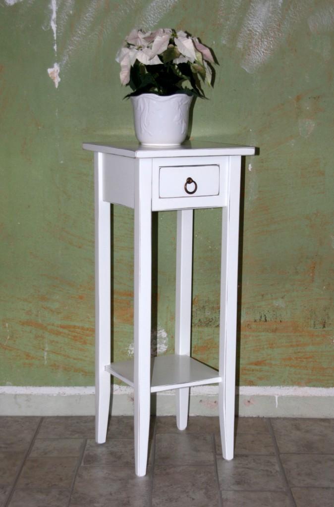 Beistelltische wei antik Blumentisch Set Blumenhocker Dekosulen 2 Stck Holz massiv
