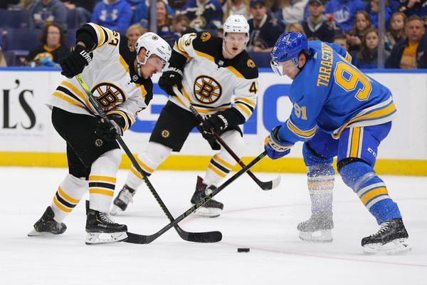 Boston Bruins Brad Marchand Defends Against St Louis Blues Vladimir Tarasenko 91