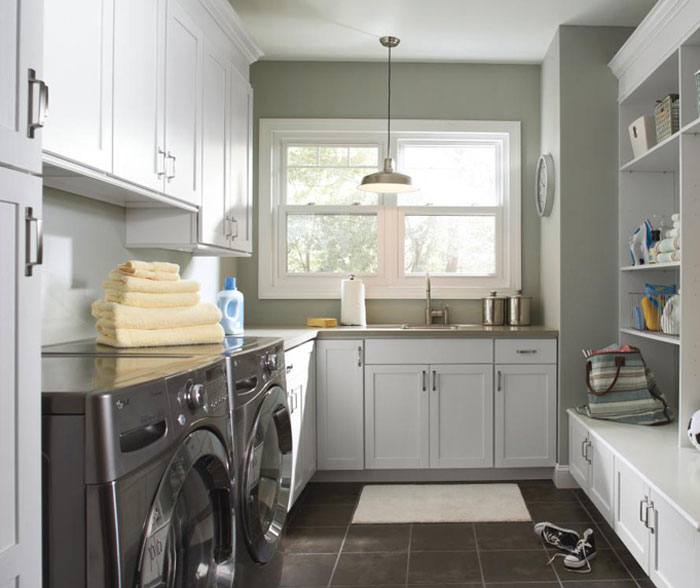 Laundry Room Cabinets in Painted White Maple  MasterBrand