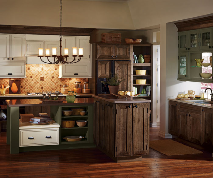 rustic kitchen cabinet island in the cabinets masterbrand by decora cabinetry