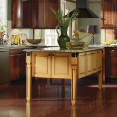 kitchen island cabinet colorful appliances islands design masterbrand cabinets dark cherry with painted yellow