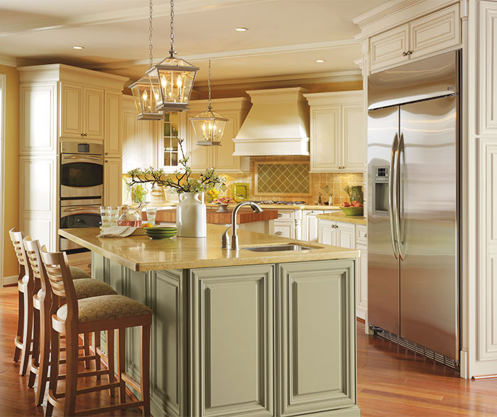 Off White Cabinets with Glaze in a Traditional Kitchen