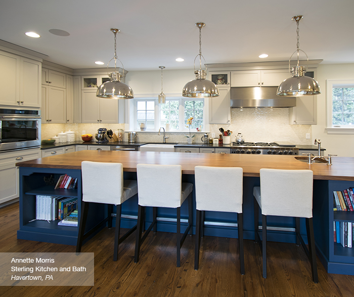 blue kitchen island bowls off white cabinets with a masterbrand puritan in maple magnolia lagoon