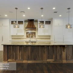 Omega Kitchen Cabinets Bright Lighting White With A Walnut Island - Masterbrand