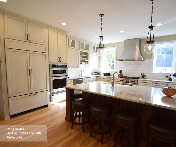 off white kitchen cabinets lysol cleaner glazed masterbrand casual with and a dark island