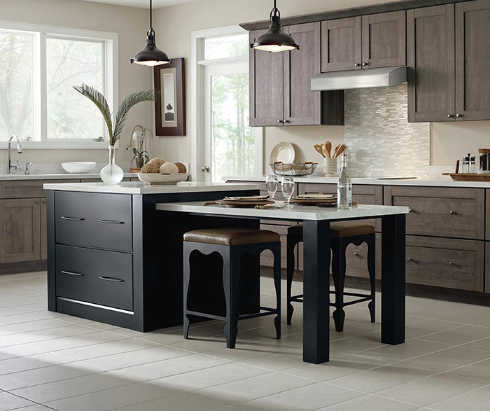 colors of kitchen cabinets lg appliances reviews laminate masterbrand herra in elk with a prestley black island