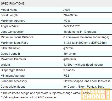 SP AF70-200mm F/2.8 Di LD (IF) MACRO (Model A001) Spec