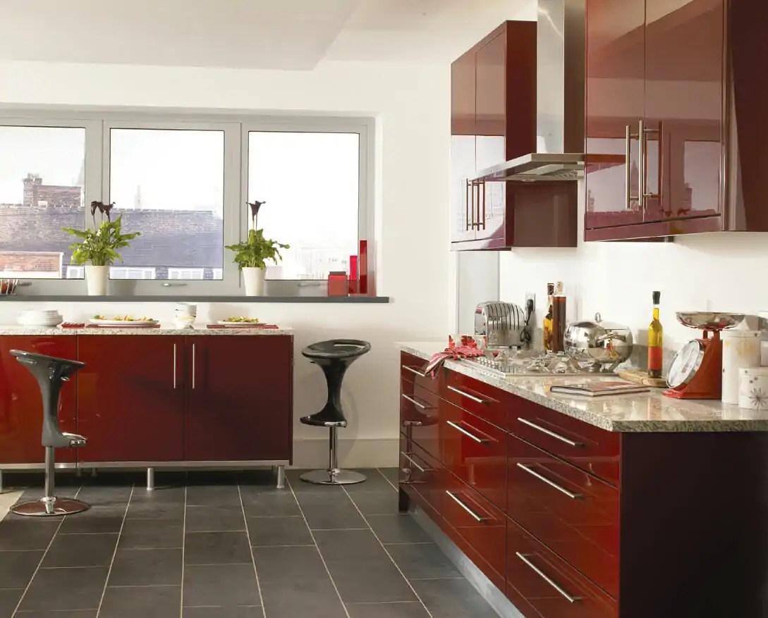 Haddington Burgundy Gloss Mastercraft Kitchens