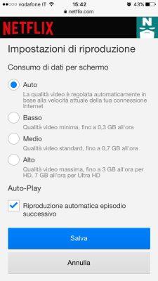 cambiare qualita video netflix da iphone