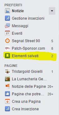 link ad elementi salvati facebook