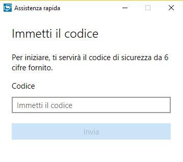 immissione codice per assistenza rapida windows 10
