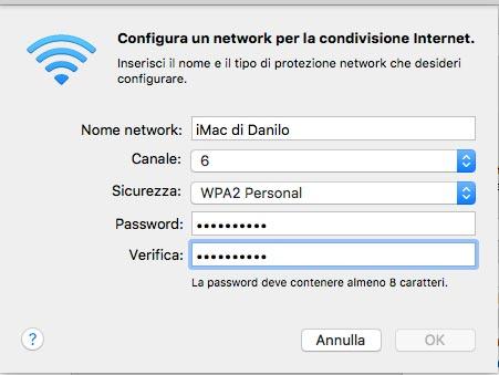 Protezione WiFi Internet Condivisione Mac