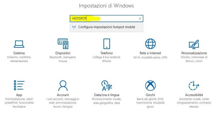 configura le impostazioni hotspot mobile