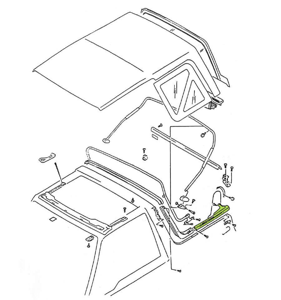 Fixation arrière gauche de bâche Suzuki Santana Vitara MK2