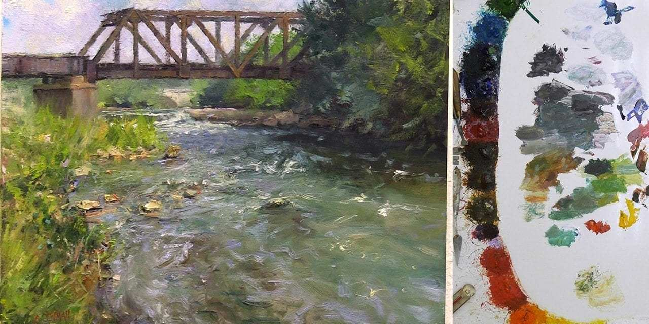 9 Steps to a Plein Air River with Railroad Crossing