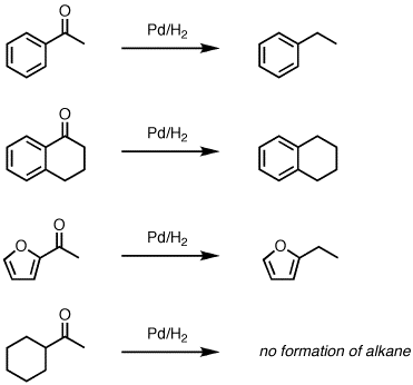 Reduction of aromatic ketones to alkanes with Pd/C and