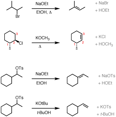 Elimination (E2) of alkyl halides to give alkenes — Master