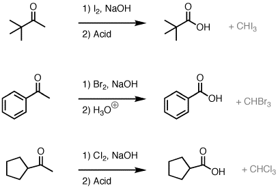 The haloform reaction: conversion of methyl ketones to