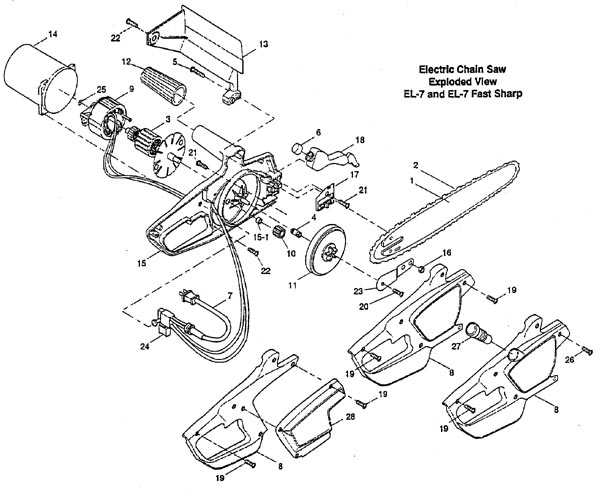 Master Parts: Remington electric chain saw parts.