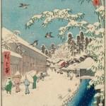 Utagawa Hiroshige's snowy winter scenes ukiyo-e art woodblock prints