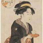 Kitagawa Utamaro's art woodblcok prints of Okita