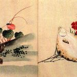 Strawberry geranium and Toad, and Flounder and Dianthus by Katsushika Hokusai