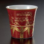 Japanese sake cups and sets of Kutani-yaki
