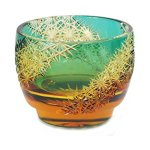 Beatutiful amber and blue/green cold sake glass cups