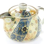 Dot and flower pattern Kutani ware Japanese teapots kyusu