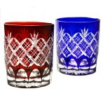 Classic Yarai pattern rocks glass of Edo-kiriko
