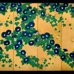 Screen painting of Morning Glories by Suzuki Kiitsu