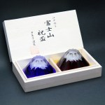 Red and Blue Mt. Fuji glass cups from Tajima Glass