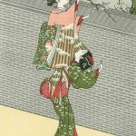 Beauty Breaking an Ume Branch, by Suzuki Harunobu