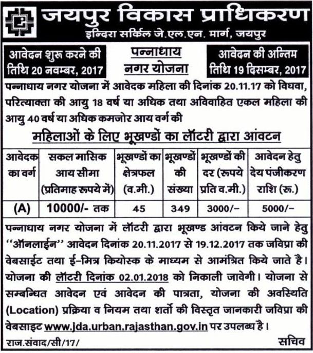 JDA Pannadhai Nagar Housing Scheme 2017-advertisement