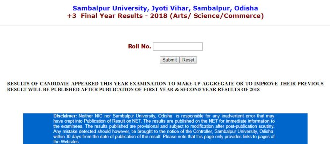 Sambalpur University +3 Final Year Result 2018
