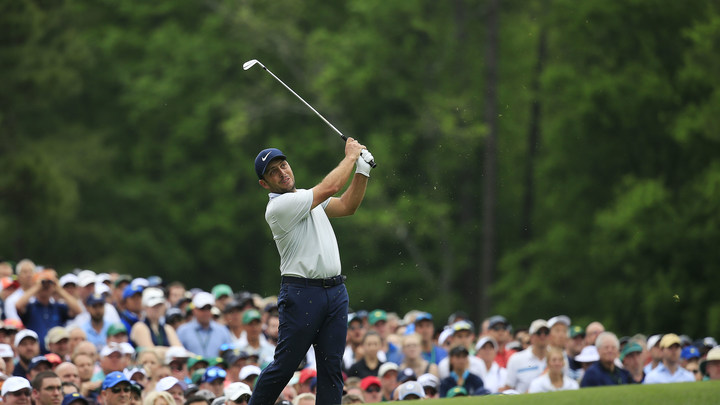Francesco Molinari of Italy hits his tee shot on No. 12 during the final round of the 2019 Masters.