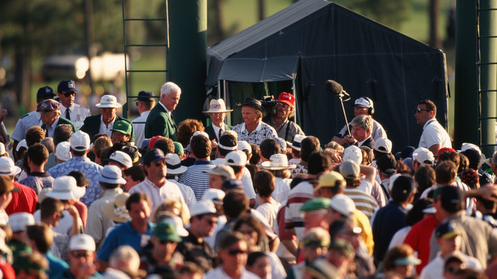 Greg Norman walks out of the scoring tent after the 1996 Masters Tournament.