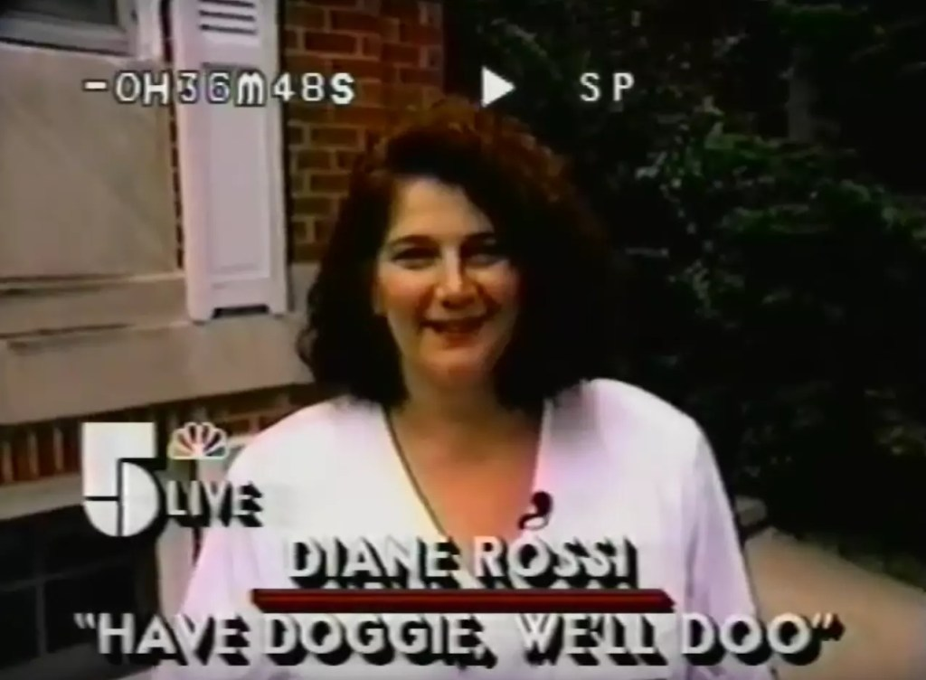 Diane Rossi founder of dog waste cleanup and removal company Have Doggie We'll Doo on the morning news.