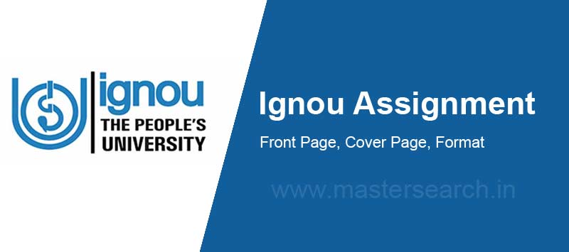 Ignou Assignment Front Page Design Cover Format