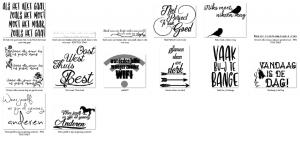 Slogans voor flex vinyl en teken projecten