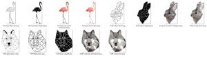 Geometrisch Figuren! Een Wolf, Flamingo en Konijn!