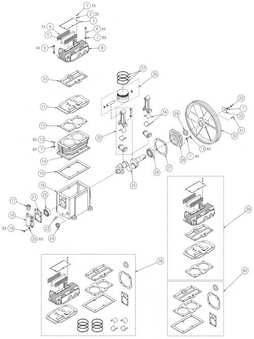 small resolution of 753h 755h air compressor pump parts schematic