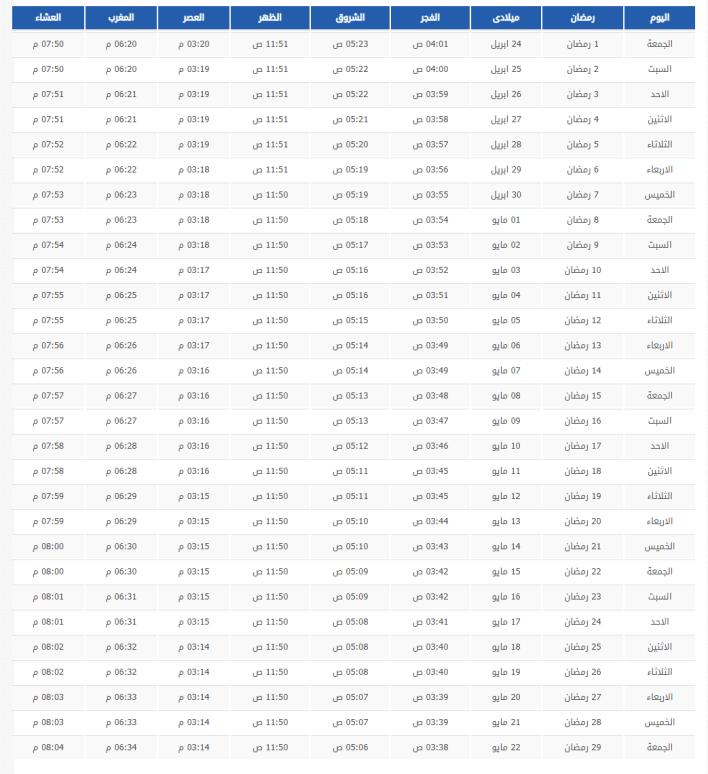 امساكية رمضان 2020 - 1441 فى السعودية