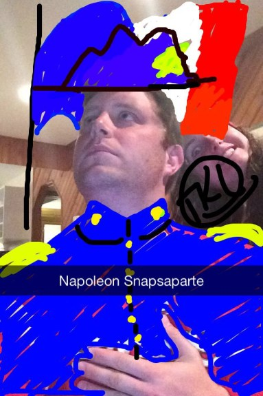 The lesser-known cousin of Napoleon Bonaparte, Napoleon Snapsaparte can be found roaming the halls of Collegiate rallying support through raucous song and boisterous yelling. This fine piece not only depicts Snapsaparte in a regal, royal pose, but also embellished in his finest garb. The artfully crafted headgear is truly the icing on the cake for this Snapsterpiece, submitted by Sarah Smithson.