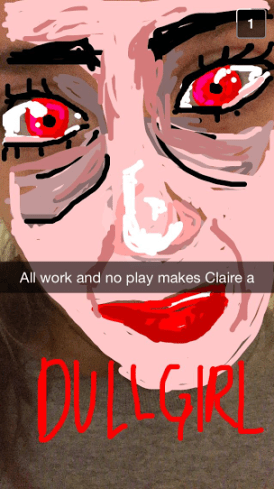 Claire Golladay's snapsterpiece, while beautiful, also scares viewers slightly. The amount of time that must have been put into this heart-rendering, soulful piece is astounding (perhaps a reason that she does not have any time for play). While the artist's skillful color blending and shading make the piece stand out, its once again the magnificent eyes that give life to the piece. Almost hypnotic...almost a little TOO real. NEXT SNAPSTERPIECE.
