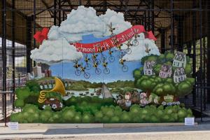Matt Lively has gained notoriety from his murals, such as this one completed for the Richmond Folk Festival Photo Credit: Matt Lively