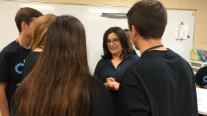 Sra. Soria-Nieto converses with students from her hometown in Spain. Photo credit: Elizabeth Harrison