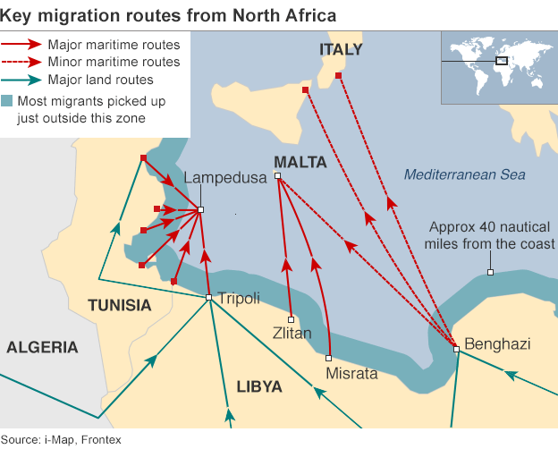 Key migration routes from North Africa. Source: i-Map, Frontex