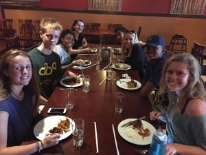 Senior ambassadors ate lunch at a local Indian restaurant to kick off conference preparations.